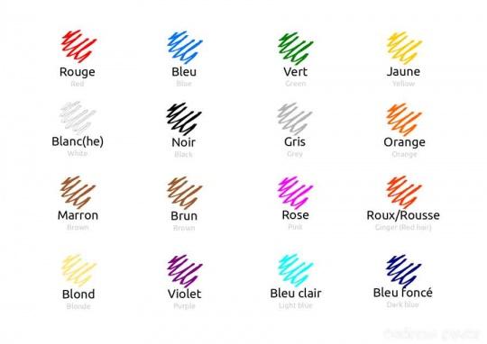 رنگ ها در زبان فرانسه
