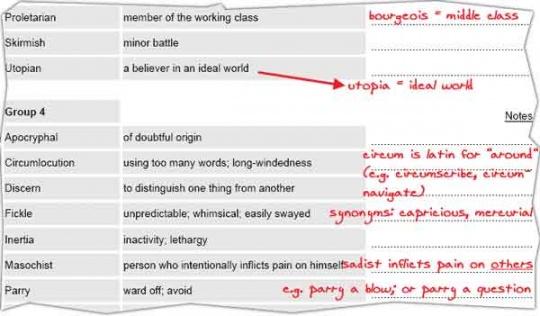 نمونه ای از یک لیست کلمات انگلیسی