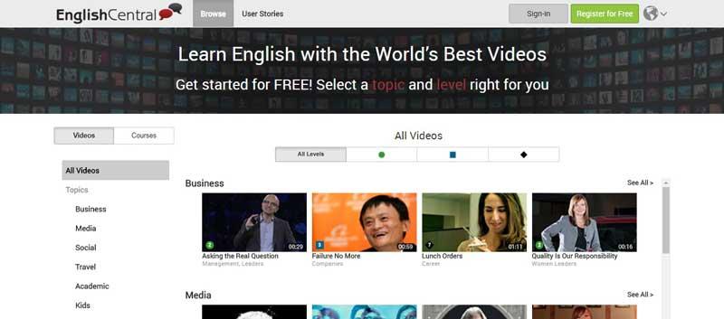 تصویری از وب سایت آموزش زبان انگلیسی English-central
