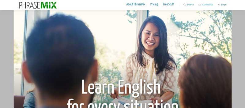 تصویری از وب سایت آموزش انگلیسی Phrase-mix