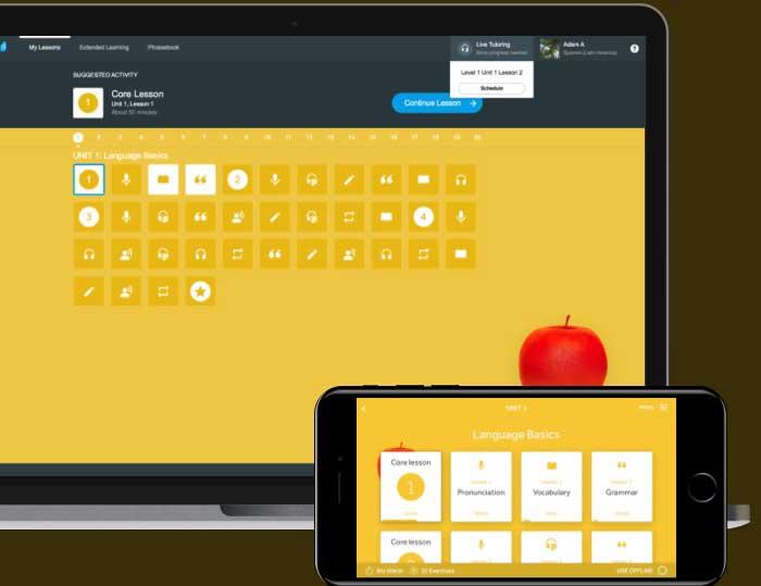 تصویر محیط نرم افزار آموزش انگلیسی رزتا استون اندروید و کامپیوتر