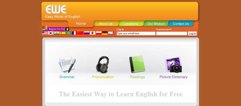تصويري از محيط وب سايت easy براي آموزش زبان
