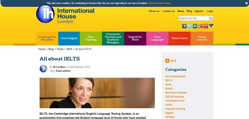 وب سایت IH London blog