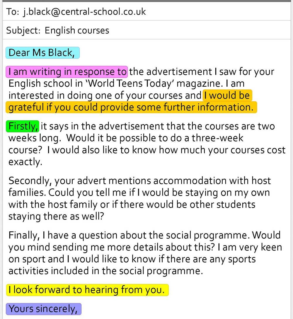 مثالی از نحوه نوشتن ایمیل