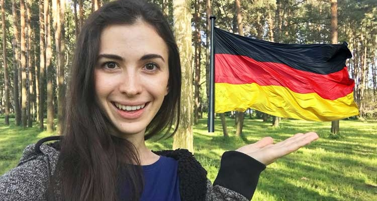 a girl after learning german
