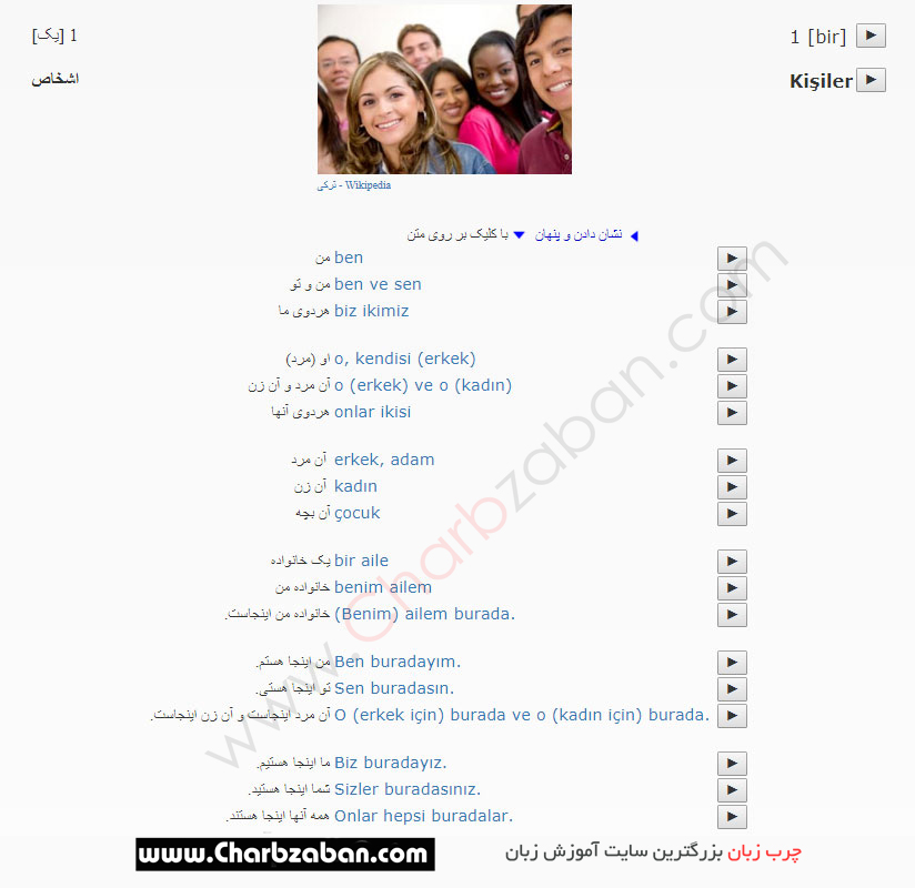 متن درس اول مکالمات زبان ترکی استانبولی