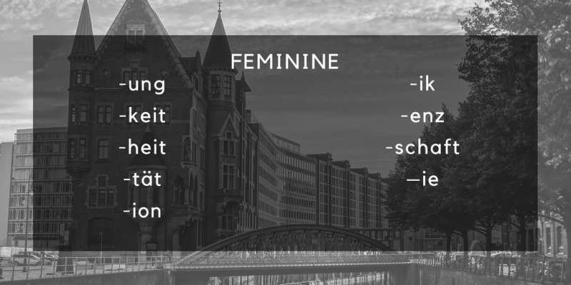 german feminine endings