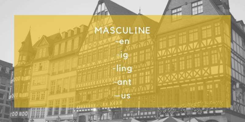 german masculine endings