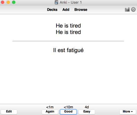how to learn French grammar with anki