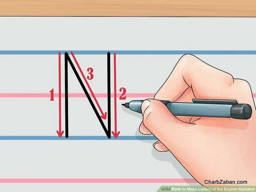 نوشتن حروف انگلیسی بر روی کاغذ آموزش  حروف انگلیسی