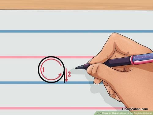 نوشتن حروف انگلیسی بر روی کاغذ