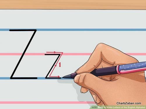 طرز نوشتن حروف انگلیسی در دفتر چهار خط