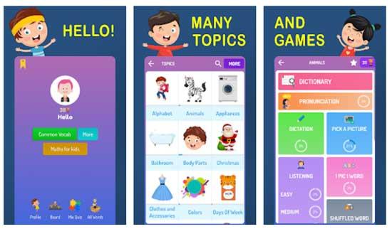 تطبيقات لتعليم الاطفال الكلمات الانجليزية