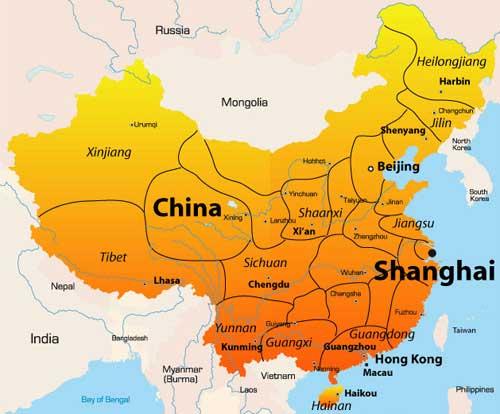 نقشه شانگهای و همسایگی هایش